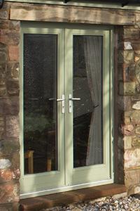 aluminium clad timber double door set
